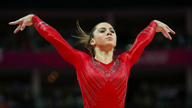 McKayla Maroney of the U.S. gestures after performing on the vault during the women's gymnastics team final in the North Greenwich Arena at the London 2012 Olympic Games