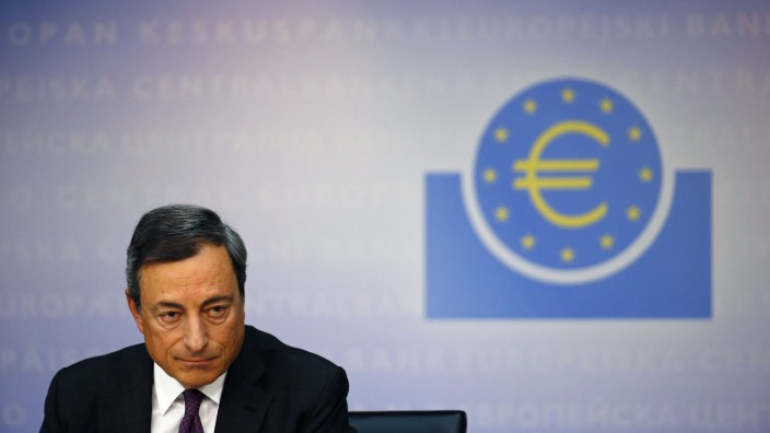 Draghi, President of the ECB, addresses the media during its monthly news conference in Frankfurt