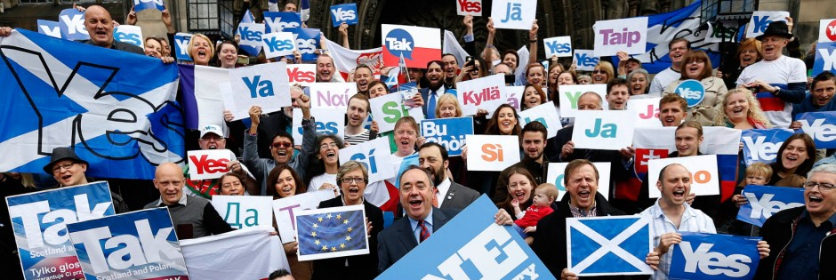 Scotland's First Minister Alex Salmond poses with supporters of the 'Yes Campaign' in Edinburgh, Scotland