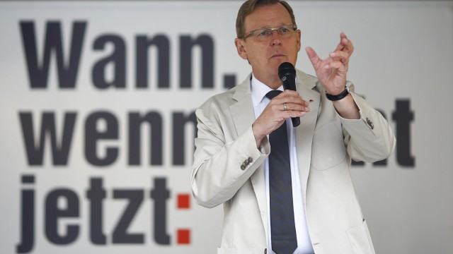 Ramelow, top candidate of left wing party Die Linke delivers his speech during a Thuringia state election campaign rally in Altenburg