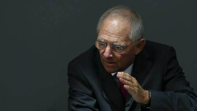 German Finance Minister Schaeuble addresses Bundestag in Berlin