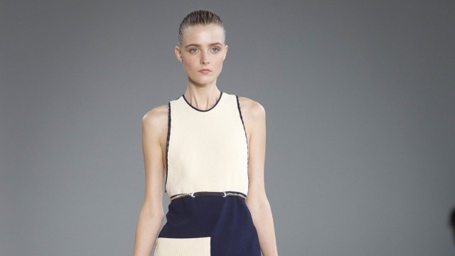 A model presents a creation from the Calvin Klein Spring/Summer 2015 collection during New York Fashion Week