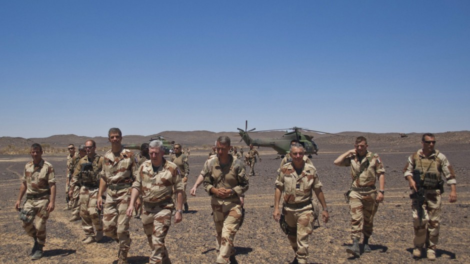 A French army delegation, led by Army Chief of Staff General Bertrand Ract-Madoux, visits a French position in the Terz valley, south of Tessalit in northern Mali