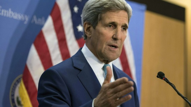U.S. Secretary of State John Kerry speaks during a news conference in Ankara