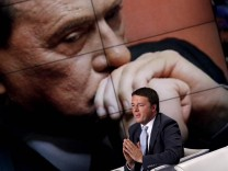 Italy, Rome: Charismatic Florence's Mayor Matteo Renzi during the popular TV talk show 'Porta a Porta'