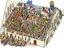 Das Hofbräu-Festzelt auf der Münchner Oktoberfest als Wimmelbild.