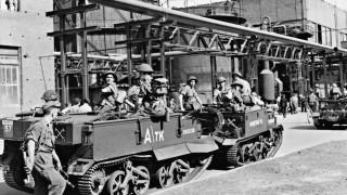 Britisches Militär sichert Demontagearbeiten, 1949