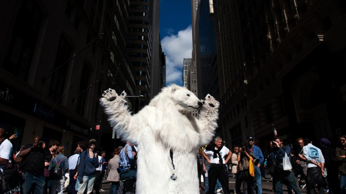 Climate Change Activists Demonstrate On Wall Street