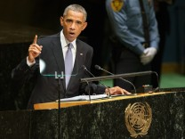 U.S. President Barack Obama addresses the 69th United Nations General Assembly at the UN headquarters in New York