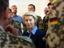 German Defence Minister Von der Leyen visits a barracks where Kurdish Peschmerga fighters are trained by the German army in Arbil