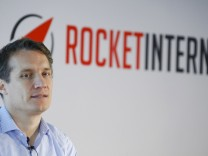 Samwer, CEO of Rocket Internet, a German venture capital group, speaks at a news conference in Frankfurt