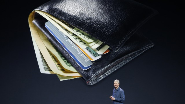 Apple CEO Tim Cook speaks about Apple Pay during an Apple event at the Flint Center in Cupertino