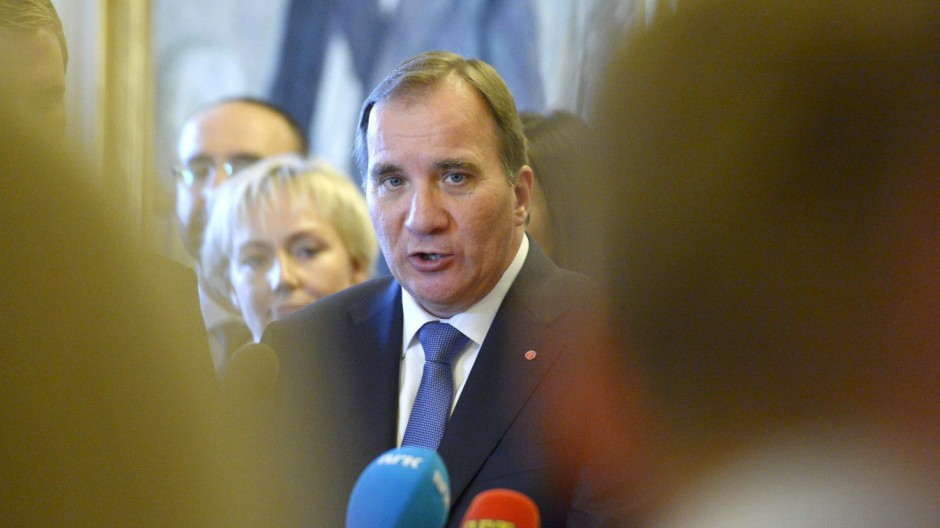 Swedish PM Lofven gives a news conference after his government declaration at the Swedish parliament Riksdagen in Stockholm