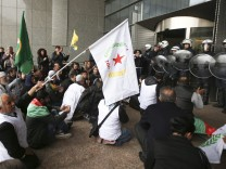 Kurdish protesters at European Parliament in Brussels
