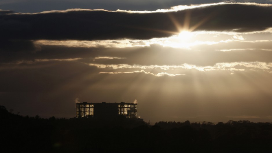 The sun sets over Hunterston nuclear power station in West Kilbride, Scotland