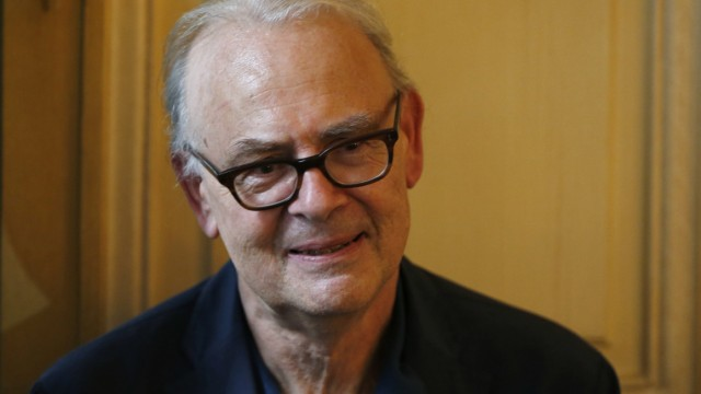French writer Patrick Modiano attends a news conference at the French publishing house Gallimard in Paris