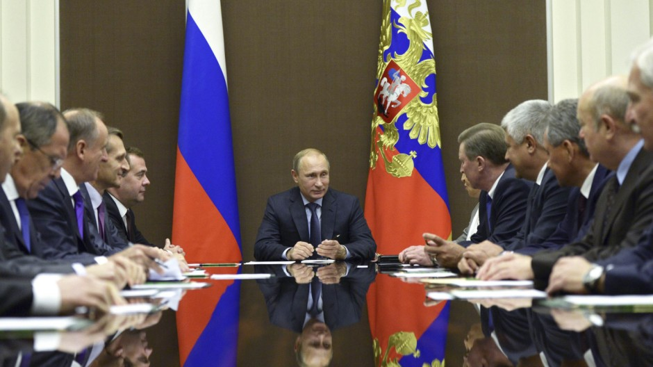 Russia's President Putin chairs a meeting of the Security Council at the Bocharov Ruchei state residence in Sochi