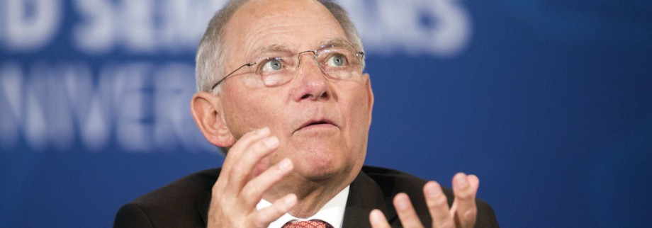 Germany's Minister of Finance Wolfgang Schauble speaks during a discussion during the World Bank/IMF annual meetings in Washington