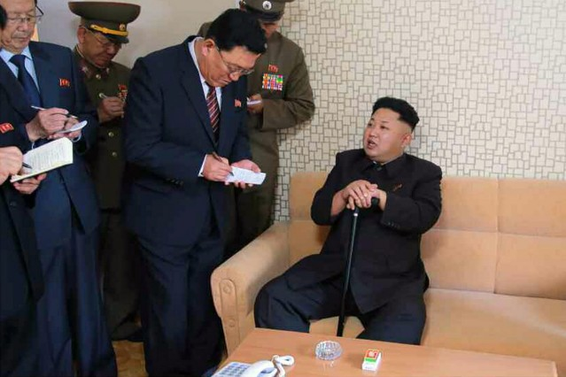 Kim Jong-un walking with a cane