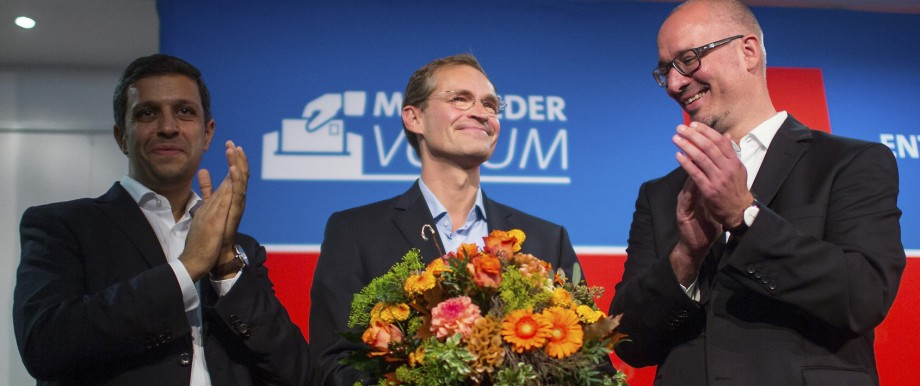 Mueller of the Social Democratic party (SPD) receives applause after winning a party members vote for a new mayor in Berlin