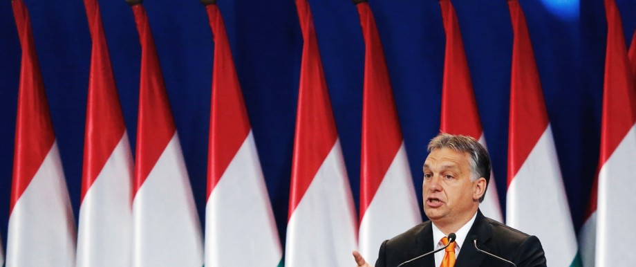 Hungarian PM Orban delivers a speech in Budapest