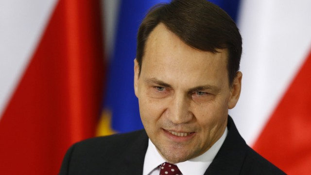 Poland's parliamentary speaker Sikorski speaks during media conference at parliament in Warsaw