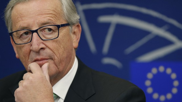 European Commission President Juncker attends a news conference after the election of the new European Commission at the EU Parliament in Strasbourg