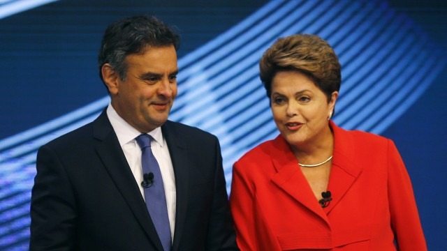 Presidential candidates Neves of Brazilian Social Democratic Party and Rousseff of Workers Party arrive at a television debate in Rio de Janeiro
