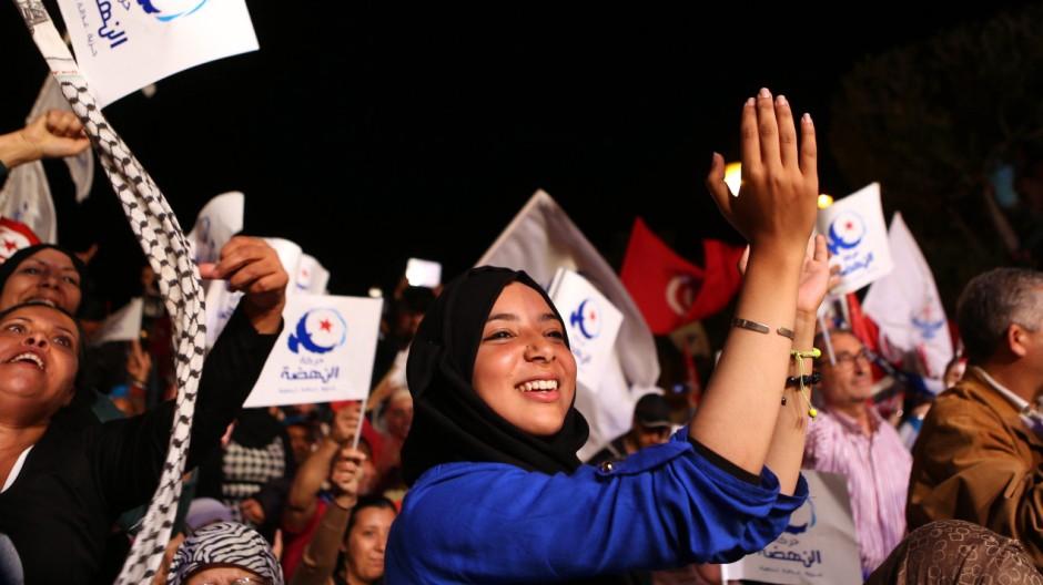 Islamist Ennahda party electoral campaign rally