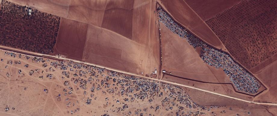 Syrian-Turkish border and bombing sites in Kobani