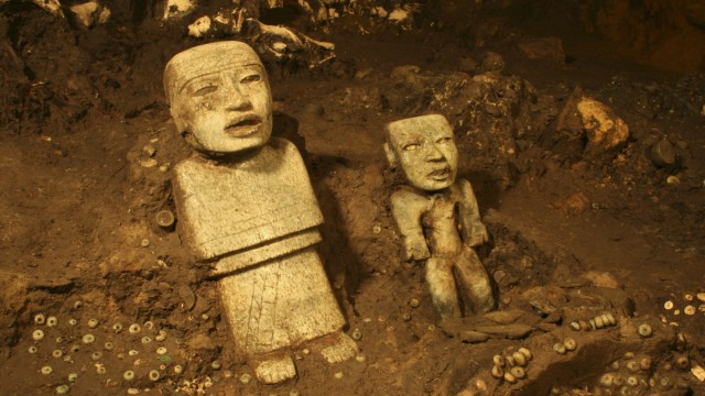 Handout photo of stone figurines in a tunnel that may lead to a royal tombs discovered at the ancient city of Teotihuacan