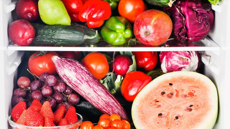 Fruits and vegetables inside refrigerator