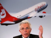 Air Berlin's CEO Prock-Schauer addresses the annual results news conference in Berlin, file
