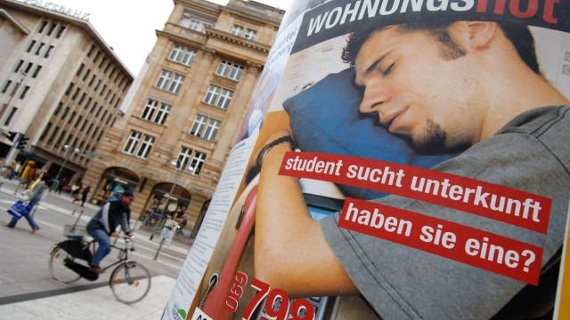 Plakataktion gegen Wohnungsnot von Studenten