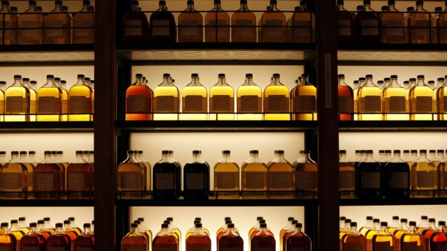 File photo of bottles of Suntory Holdings single cask whisky displayed at its Yamazaki Distillery in Shimamoto town