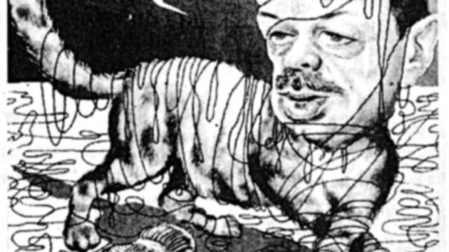 Karikatur von Erdogan als Katze
