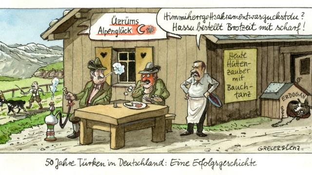 Karikatur Erdoğan als Kettenhund