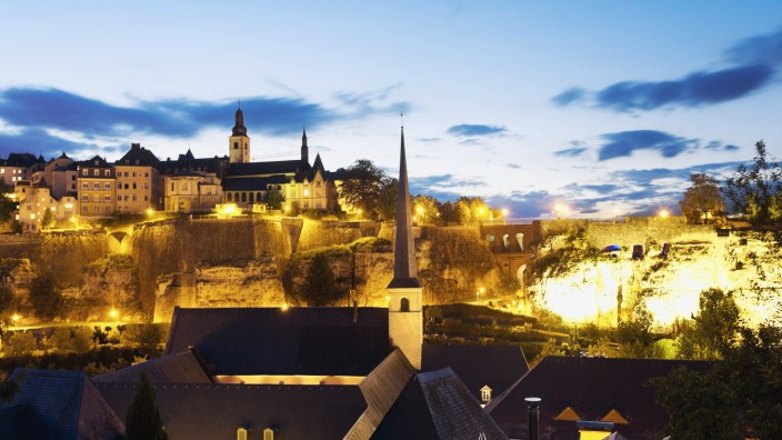 Luxembourg Luxembourg City View to the city district Grund and the cloister Saint Michael s Churc