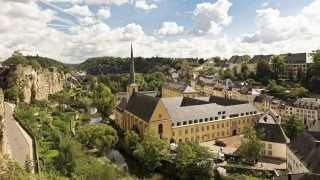 Luxembourg Luxembourg City View to the Benediktiner abbey Neumuenster and St Johannes church cas
