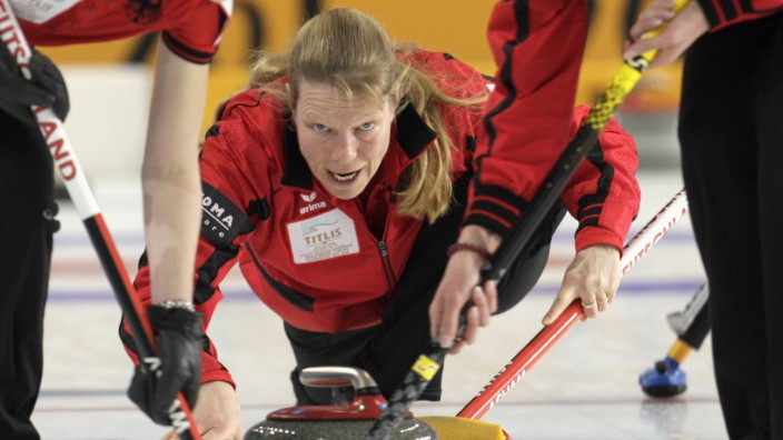 Germany's skip Schopp watches stone during World Women's Curling Championship qualification round match against Sweden in Riga