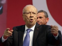 Beji Caid Essebsi, leader of Tunisia's secular Nidaa Tounes party and presidential candidate, speaks during a campaign event in Sfax