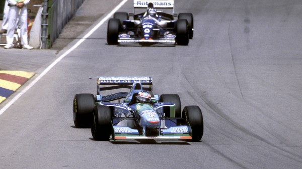 SCHUMACHER Michael F1 Team Benetton Weltmeister Saison 1994 vor Damon HILL FIA Formel 1 Grosser Pre