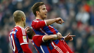 Bayern Munich's Goetze celebrates a goal against Hoffenheim during their German first division Bundesliga soccer match in Munich