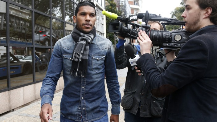 File picture of French soccer club Bastia's player Brandao leaving after a hearing at the French Football Federation headquarters in Paris