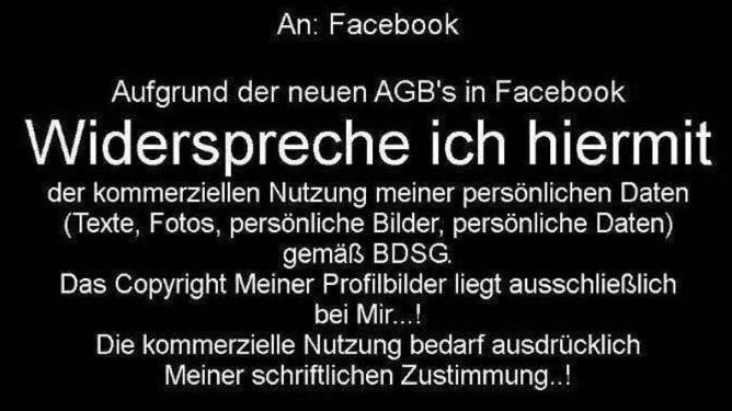 Facebook Widerspruch gegen Facebook-AGB