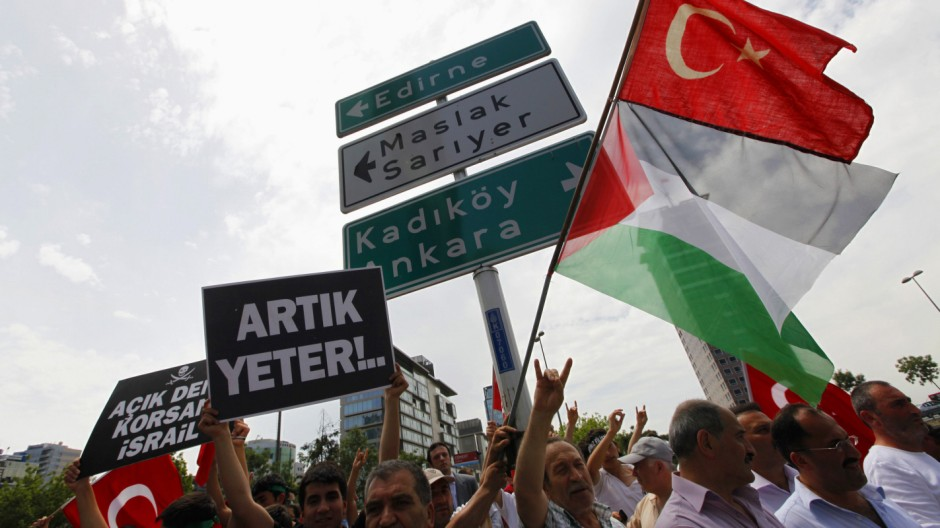 Demonstrators chant nationalist slogans during a protest against Israel near the Israeli Consulate in Istanbul