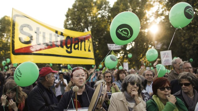 Demonstrators protest in Stuttgart