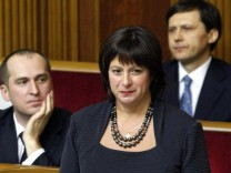 New Ukrainian Finance Minister Jaresko stands before deputies during a session of parliament in Kiev
