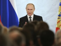 Russia's President Putin addresses the Federal Assembly at the Kremlin in Moscow
