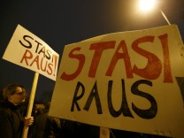 Demonstrators protest against Left-SPD-Greens alliance in Thuringa state capital Erfurt